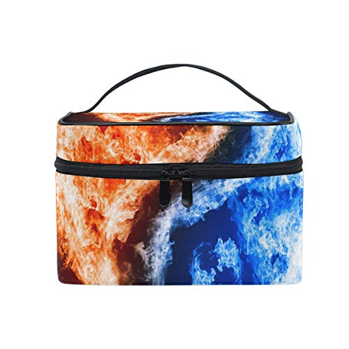 HELVOON Fire Water Chinese Yin Yang Cosmetic Bag Toiletry Travel Makeup Case Handle Pouch Multi-function Organizer for Women