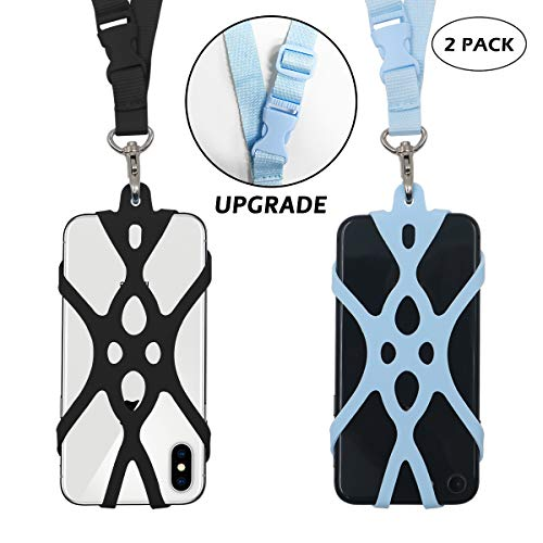 2 in 1 Cell Phone Lanyard Rocontrip Strap Case Holder with Detachable Neckstrap Universal for Smartphone iPhone 8,7 6S iPhone 6S Plus,Samsung Galaxy Google Pixel 4.7-5.5 inch (Black + Light Blue)
