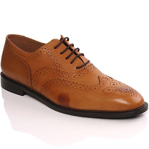 Unze Cuero Español de cordones -up Zapatos Office Dress Hombres Thoms ' Tan