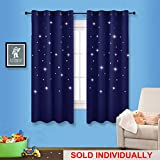 NICETOWN Children Blue Blackout Curtain - Space Inspired Night Sky Twinkle Star Curtain, Creative Blackout Window Drape for Bedroom (1 Panel, 52 x 63 inches Panel, Dark Blue)
