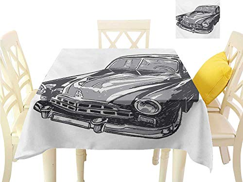 familytaste Dinning Tabletop Decoration Cars,Hand Drawn Vintage Vehicle with Detailed Front Part Hood Lamps Rear View Mirror,Grey Blue Grey Small Tablecloth W 36