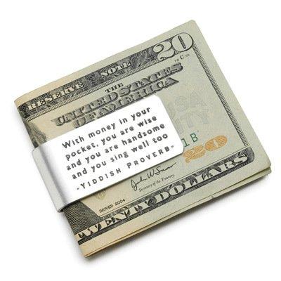 Custom Made Yiddish Proverb Money Clip blingforfun