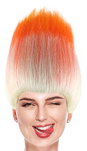 Orange and White Troll Style Wig Synthetic Hair