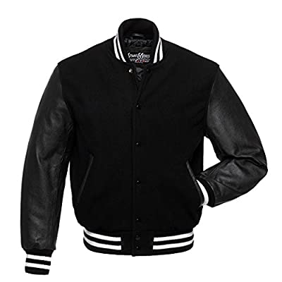 C133 Black Wool Black Leather Varsity Jacket Letterman Jacket