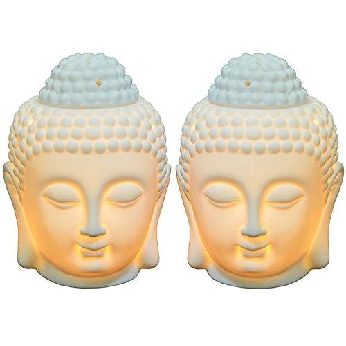 Moylor Buddha Head Essential Oil Diffuser Set of 2, Buddha Aromatherapy Diffuser Ceramic Candle Holder Incense Burner (White) …