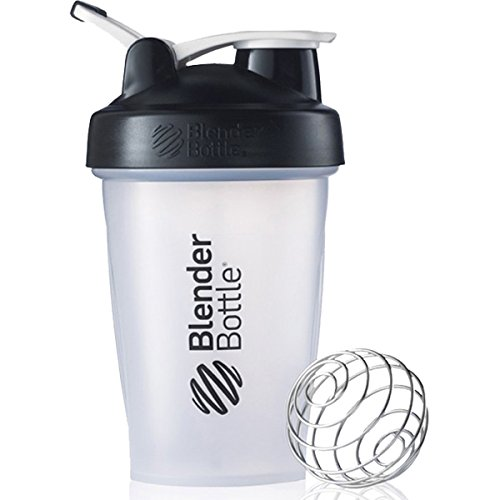 BlenderBottle C00581 Classic Shaker Bottle, 20-Ounce Loop Top, Clear/Black