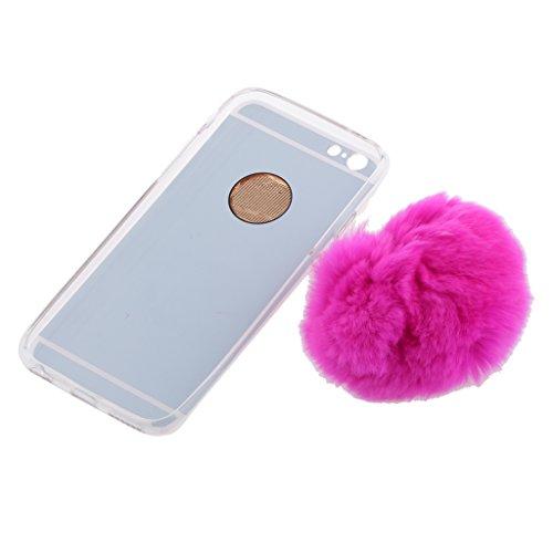 MagiDeal Cubierta Protectora Funda Caso Espejo Efecto con Suave Bola Felpa para iPhone 6s Plus 6 Plus