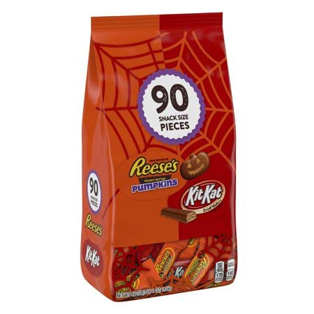 Reese's & Kit Kat, Halloween Candy, Chocolate Snack Size Assortment, 49 Oz, 90 Ct ()