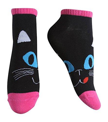 Gravity Threads Pattern Design Ankle Length Socks, Black (Thread Design Patterns)