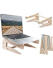 Laptopstandaard Houten Laptop Houder voor Bureau,Geventileerde koeling Desktop Computer Stand,MacBook Laptopriser,Draagbare Notebookhouder,Laptop Stand,Compatibel met MacBook Pro/Air Lenovo Dell HP (S)