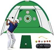 TTCB Sports Golf Net, Golf Practice Net with Chiping Net, with Swing Corrector and Golf Practice Mat, Golf Net