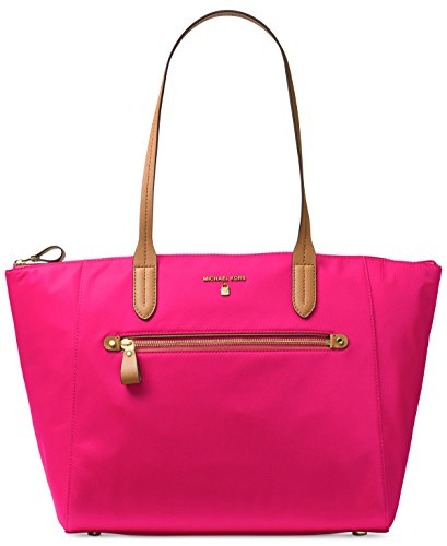 Michael Kors Kelsey Large Top Zip Nylon Tote Ultra Pink