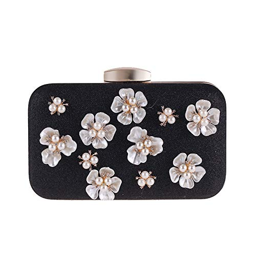 Argento per a Colore Yzibei Borse tracolla sposa da da tracolla sposa pratico Nero le perla con donne frizione borsa fiore con 6wUqY4wH