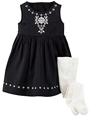 Sateen Holiday Dress (Baby) - Black-3 Months