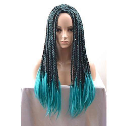 BERON Long Braided Halloween Cosplay Wigs for Adult and Kids(Black Mixed Blue) -