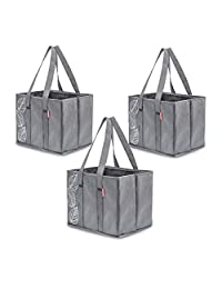 Planet E Reusable Grocery Shopping Bags – Large Collapsible Boxes With Reinforced Bottoms Made of Recycled Plastic (Pack of 3)