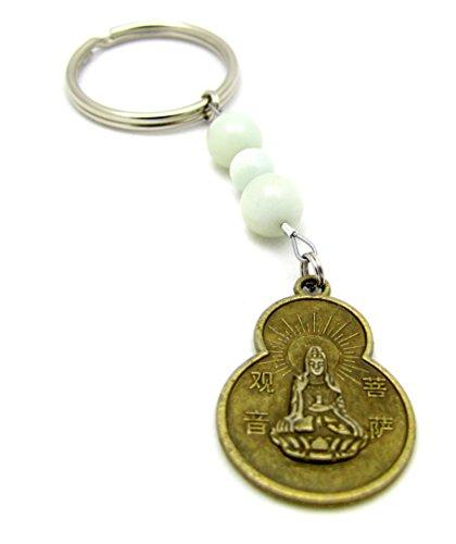 5th Chakra Keychain Bag Charm ~ Handmade Amazonite Gemstone Beaded Keychain Quan-Yin Coin ()