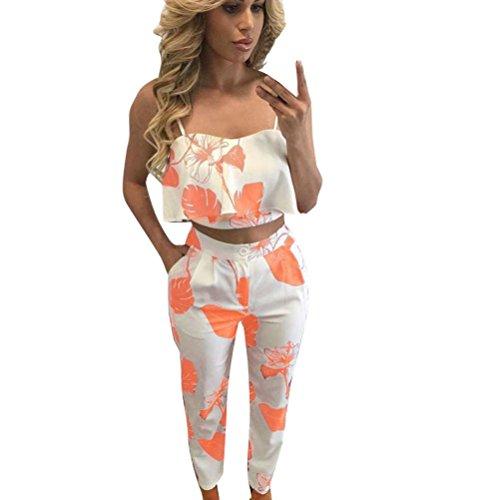 Han Shi Outfit Set, Women Floral Crop Top Spaghetti Strap Bodycon Rompers Trouser 2 Pcs (XL, Orange)