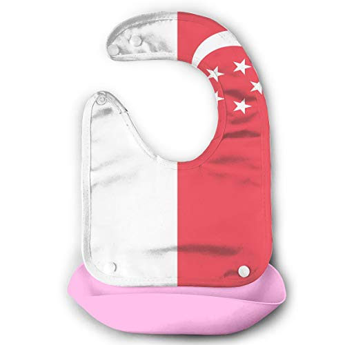 Singapore Flag Baby Bibs Waterproof Silicone Bib Three-Dimensional Bib Baby's Eating Bib Child Saliva Towel for Infants and Toddlers
