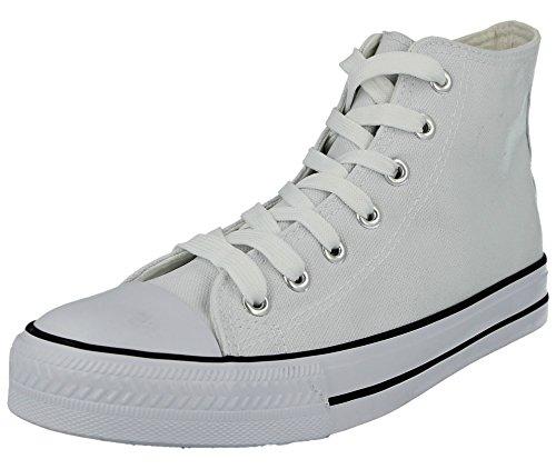 Scarpe Baltimore Hi Top Uomo Con Gomma In academy Casual White Plimsoll Modello Da Punta Tela Stringate Ginnastica BBxq4gr
