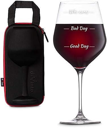 diVinto Copa de vino Gigante Who cares con Funda para llevar, Copa de vino regalo XXL 860 ml, Good Day Bad Day