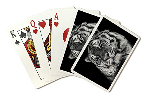 - Bold Black and White Tiger Close-Up Photography A-90889 (Playing Card Deck - 52 Card Poker Size with Jokers)