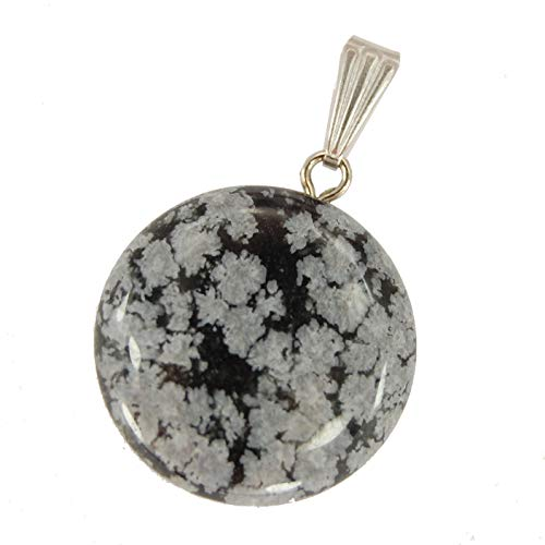 Steampunkers USA Celestial Collection - 20mm Full Moon Disc Snowflake Obsidian Gray Black- Pendant Only - Tribal Ethnic Carved Necklace - Stainless Steel Bail