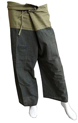 PAPAYA SHOP Thai Fisherman Pants Yoga Trousers stripe 2 Tone Green and Dark Olive Green