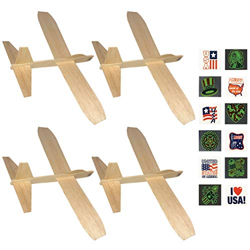Guillows Balsa Wood Jetfire Gliders | Wooden Model Airplane Construction Kits | 12-Inch Customizable Blank DIY Flying Toy Planes | 4-Pack with Free Glow-in-The-Dark Patriotic Tattoos from KYGON