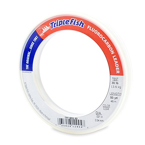 Triple Fish 30 lb Test Fluorocarbon Leader Fishing Line, Clear, 0.54 mm/50 yd