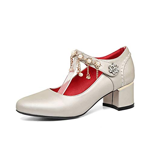 Basic Women's Green Heels Heel Silver Shoes Polyurethane Pearl amp; Beige Chunky PU ZHZNVX Red Pump Spring Fall Rhinestone 0dqad