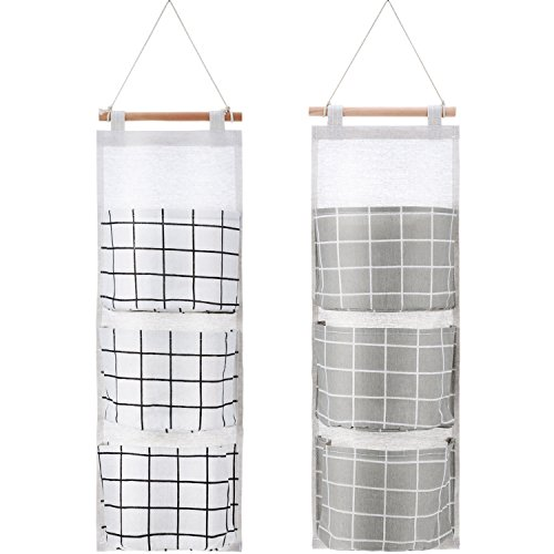 BBTO 2 Packs Hanging Pocket Organizer Wall Hanging Pocket Storage Bag 3 Pockets Over The Door Linen Cotton Fabric Waterproof Organizer for Babyroom Bedroom and Bathroom