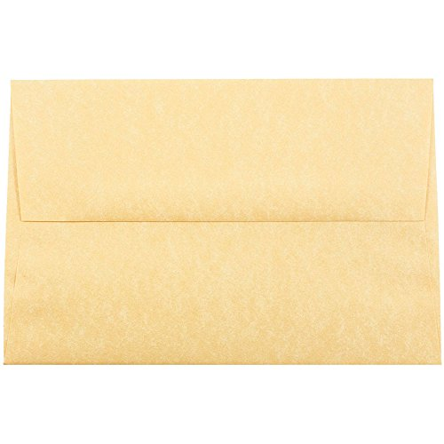 JAM PAPER A8 Parchment Invitation Envelopes - 5 1/2 x 8 1/8 - Antique Gold Recycled - Bulk ()