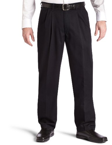 Fit Double Pleat Pant (Lee Men's Big-Tall Stain Resistant Relaxed Fit Pleated Pant, Black, 44W x 30L)