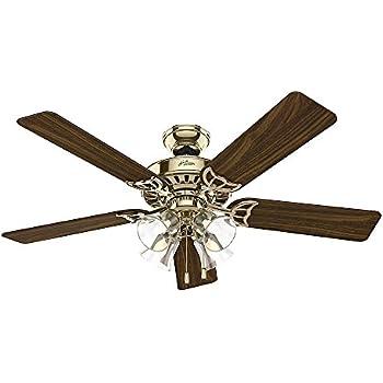 Hunter 53063 studio series 52 inch antique brass ceiling fan with hunter 53066 studio series 52 inch ceiling fan finish with five walnutmedium oak blades and light kit bright brass aloadofball Images