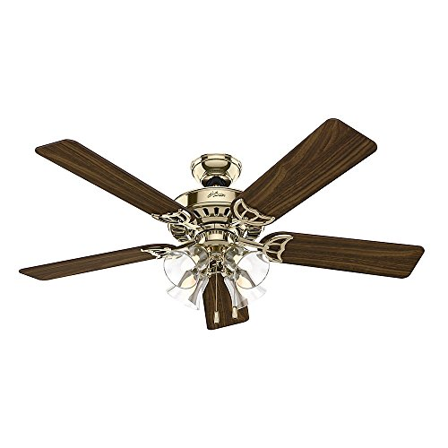 Hunter 53066 Studio Series 52-Inch Ceiling Fan Finish with Five Walnut Medium Oak Blades and Light Kit, Bright Brass