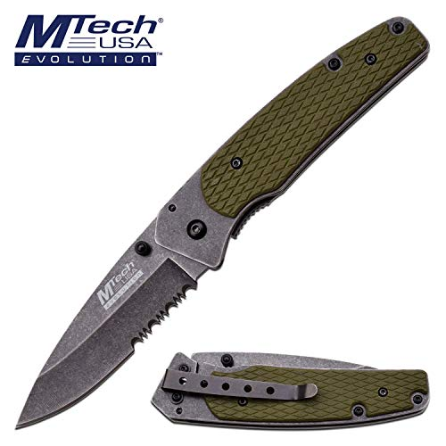 MTech Evolution - Spring Assisted Folding Knife - Stonewashed Finish Drop Point/Serrated Blade with Green G10 Handle - Tactical Combat Military Survival Knife