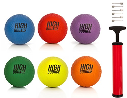 """High Bounce sets of 8.5"""" Playground Balls with Hand Pump and Needles (Set of 6 Colors)"""