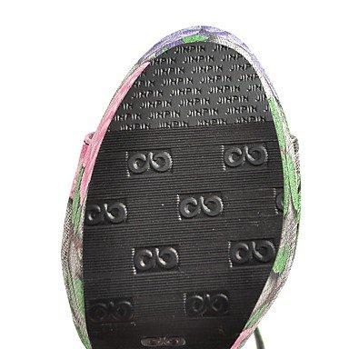 LvYuan Mujer Sandalias Confort Tira en el Tobillo PU Verano Vestido Confort Tira en el Tobillo Hebilla Tacón Robusto Amarillo Azul Rosa12 cms y Blue