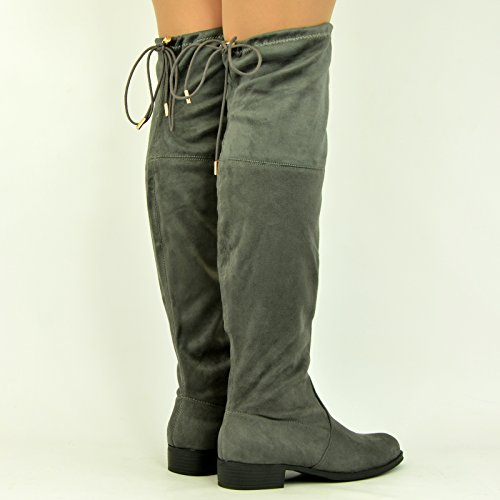 New Womens Ladies Over The Knee Boots Low Block Heel Back Lace Shoes Size Uk 3-8 Grey SSu3nGC