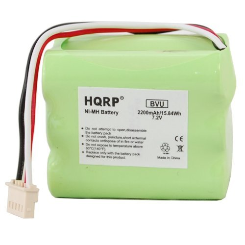 HQRP 2200mAh Extended Battery for Packet+ 5200 Mint Plus 5200, 5200c, 5200B, Braava 380 380t iRobot Floor Mopping Robot Evolution Robotics Mint Extra Automatic Hard Floor Cleaner Robotic Vacuum + Coaster