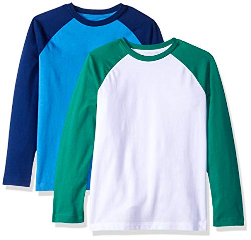Amazon Essentials Big Boys' 2-Pack Raglan Tee, Palace Blue Depths Bright White with Bosphoros Sleeve, L