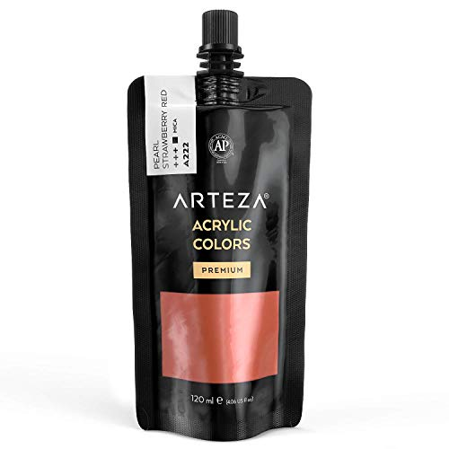 Arteza Metallic Acrylic Paint, Pearl Strawberry Red A222, 120 ml Pouch, Highly Pigmented & Fade-Resistant, Non-Toxic, for Artists, Hobby Painters & Kids