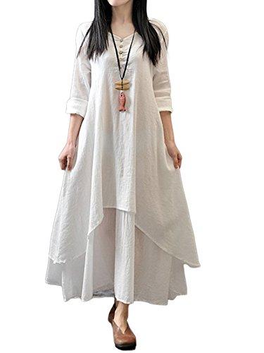 3/4 sleeve linen dress - 8