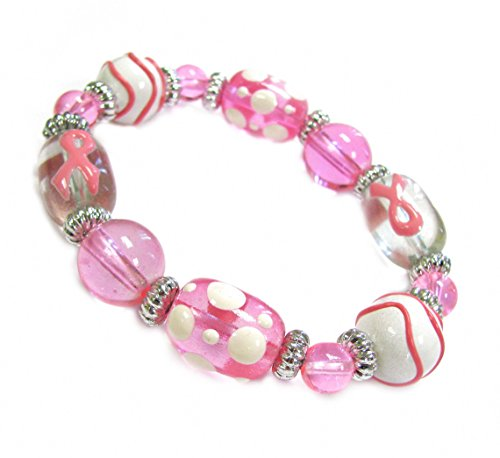 "Linpeng 3D Hand Painted Bag Breast Cancer Awareness/Pink Ribbon Glass Beads Stretch Bracelet, 13 x 18 mm/7.5"", Style BR-2057"