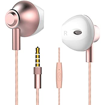 Personalized Apple Style Earbuds,Langsdom F9 Earpods Headphones Powerful Bass Remote Control with Microphone for iPhone, iPad, Samsung, Android,MP3 & MP4 Players (Woman,Rose Gold,Case)