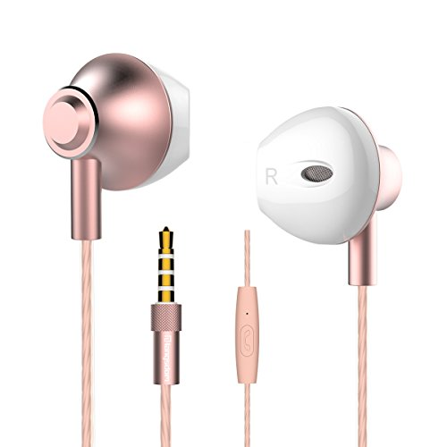Personalized Rose Gold Earbuds,Langsdom F9 Headphones Powerful Bass Remote Control Microphone iOS, Samsung, Android,MP3 & MP4 Players (Woman,Case) by Langsdom