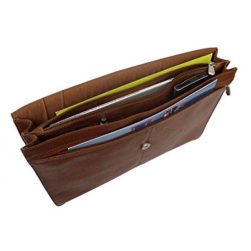 Piel Leather Entrepeneur Three-Section Flap Portfolio in Chocolate
