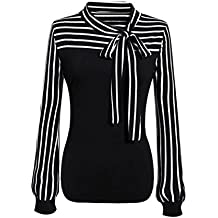 WensLTD Women's Fashion Striped Long Sleeve Splicing Tie-bow Neck Shirts Tops