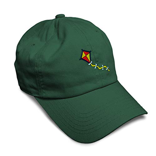 Speedy Pros Soft Baseball Cap Kite Embroidery Twill Cotton Dad Hats for Men & Women Buckle Closure Forest Green Design Only